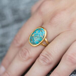 Oval Shaped Blue Solitaire Ring 14K Yellow Gold Plated Stabilized Turquoise Band