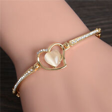 Love Women Gold Wristband Bangle Crystal Cuff Elegant Bracelet Jewelry Heart New
