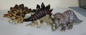 Lot of 3 Jurassic Park Schleich Dinosaurs Triceratops Stegosaurus Retired