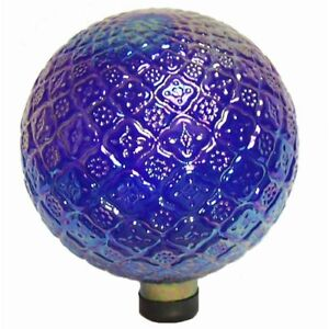 Translucent Embossed Gazing Globe Blue Whimsical Classic Durable Outdoor Decor