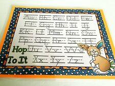 Hop To It Orange Alphabet Handwriting Dry Erase Laminated Full Sheet Mat