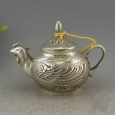 Chinese Dynasty Miao Silver Lucky Flower Phoenix Statue Wine Tea Pot Flagon
