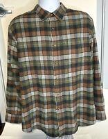Pendleton Mens Brown Plaid Cotton Flannel Long Sleeve Button Down Shirt Size XL