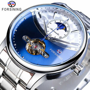 Mens Automatic Mechanical Golden Self-Wind Skeleton Stainless Steel Wrist Watch