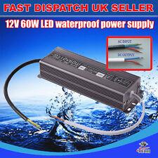 60 W étanche DC12v Transformateur Alimentation Adaptateur DEL Lumière Extérieur UK Stock