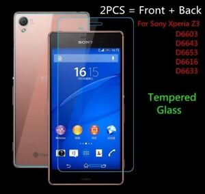 Back Genuine Tempered Glass Screen Protector For Sony Xperia Z3
