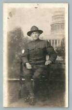 WWI Soldier in Uniform~Washington DC Studio Photo RPPC Antique Capitol 1920s