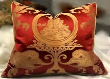 Cowtan & Tout Delfini Strie Damask Silk, Red & Gold. Large Accent Pillow