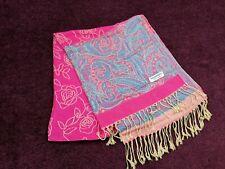 Pashmina Pink Blue Floral Wrap Ladies Shawl Oversized Scarf Flowers Asian