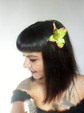 Pince clip cheveux fleur orchidée verte coiffure pin-up rétro rockabilly