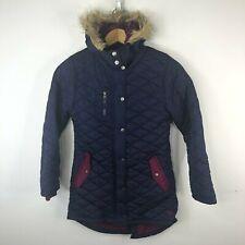 ROXY Girls Winter Coat Size 10 Navy Blue Faux Fur Jacket Ski Snowboard Purple
