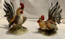Vntg Lefton Pair Fighting Roosters Kw854A Kw854B Bisque Porcelain Figurines Euc