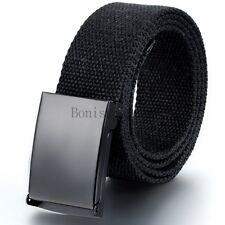 Unisex Waist Belt Mens Boys Plain Webbing Waistband Casual Canvas Belt Buckle