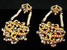 CHANDELIER EARRINGS w PEARLS 22K GOLD *INDIAN WEDDING JEWELRY* VINTAGE