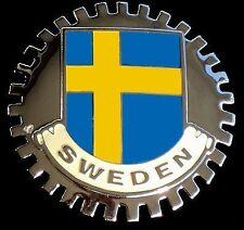 SWEDEN FLAG CAR GRILLE BADGE CHROME EMBLEM STOCKHOLM BLUE YELLOW