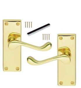 Door Handles Brass Finish Lever Latch Victorian Scroll Internal Up to 9 sets D3