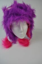 Girls SO Purple Pink Monster Faux Fur Winter Hat Cap with Earflaps MSRP $30 S/M