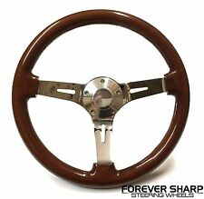 "14"" Classic Deep Dish Wood Steering Wheel Set w/ 69-94 GM Column Adapter &amp..."