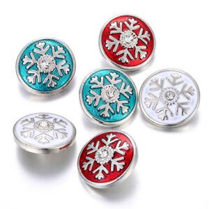 10pcs Christmas Snap Rhinestone Snowflake Snap Button Fit 18mm Snap Bracelet