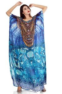 Uniquely Designed Inspired by Catchy Porcelain Print Turquoise Silk Kaftan