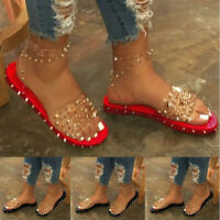 Women Studded Ankle Strap Slingback Sandals Open Toe Flat Summer Perspex Shoes