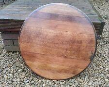 More details for solid oak whisky barrel ends wooden drinks pub tray cask lid vintage