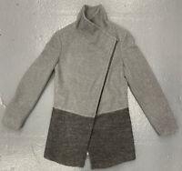 Calvin Klein Womens Wool Blend Coat Jacket Zip Grey Asymmetrical Hem Size 4