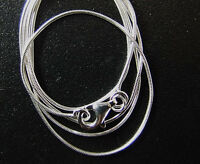 925 Sterling Silver Snake Round Chain Necklace 0.8 mm. 16 inches