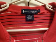 Daniel Cremieux Men's S/S Classic Fit Red Striped Golf Polo Size XL With Logo