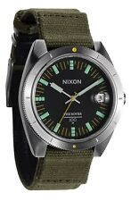 NWT Nixon Men's Rover II Black Dial Face & Surplus Green Canvas Band Watch $175