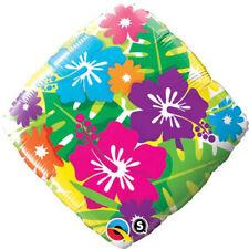 Ballon Alu carré impréssion Fleur d'Hibiscus Multicolores 45 cm