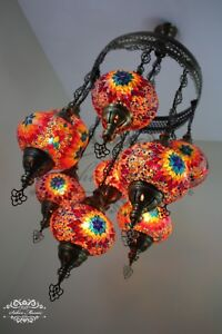 9 BALL  SULTAN TURKISH MOSAIC  CHANDELIER WITH NO3 GLOBES