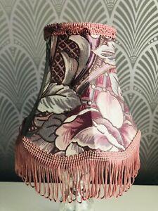 Vintage Floral Pink Lampshade Floral Design Tassels Trim Ditsy Chintz