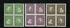 Denmark 1924Post Anniversary Sg218Aa-218Ca 3 blocks of 4 mint