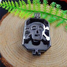 2 pcs Gun Black Alloy Sull Locket Charm Necklace Pendant Inner 31x22mm
