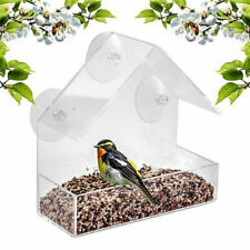 Glass Window Bird Feeder Clear Perspex Viewing Suction Cup Hanging Peanut SeedTe