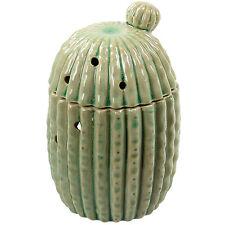 Glazed Ceramic Cactus Design Home Fragrance Oil Burner Granules Wax Melt Sage