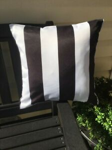 Indoor Outdoor Black & White stripe Pillow Cover 18 X 18