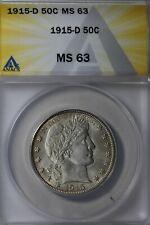 1915 D  50C ANACS MS 63      Barber Half Dollar, Liberty Head
