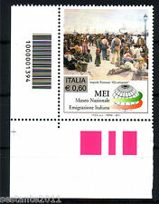 ITALIA 2011 MUSEO EMIGRAZIONE CODICE A  BARRE 1394 MNH** 199N ANGOLO LEGGI TESTO