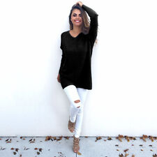 Womens V Neck Jumper Dress Ladies Oversized Long Sleeve Pullover Sweater 6 - 14