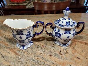 Bombay Sommerhill  Blue, White w/Gold Trim Porcelain Covered Sugar & Creamer
