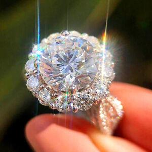 Fashion Women Jewelry 925 Silver Rings White Sapphire Wedding Gift Size 6