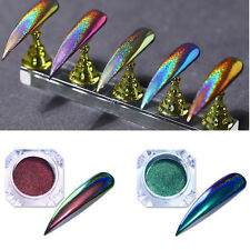 2X 0.2g Holographic Chameleon Nail Powder Mirror Laser Chrome Pigment Decor Tips