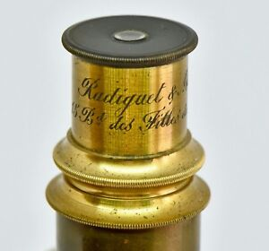 Microscopio Radiguet & Massiot 1900 vintage Antico Microscope Mikroskop Brass