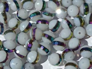 Multi-Faceted 'Rainbow Hail' AB Banded 10mm Glass Beads