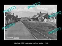 OLD POSTCARD SIZE PHOTO OF GOSFORD NSW VIEW OF THE RAILWAY STATION c1910
