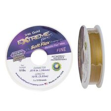 "Soft Flex Extreme 24k Gold Beading Flex Wire .014"" 10ft Mini Spool Round Jewelry"