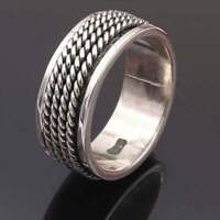 Solid 925 Sterling Silver Spinner Ring Meditation Ring Statement Ring Size R0126