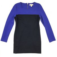Michael Michael Kors Shirt Dress Women's 8 Black Long Sleeve Pockets Zip Back